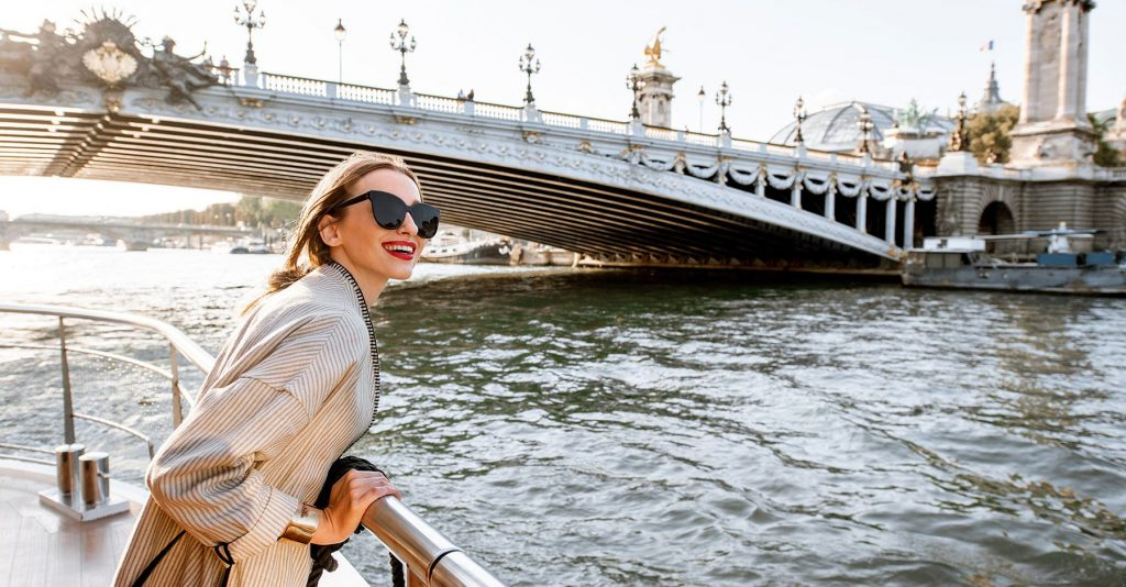 woman on a boat cruise in paris