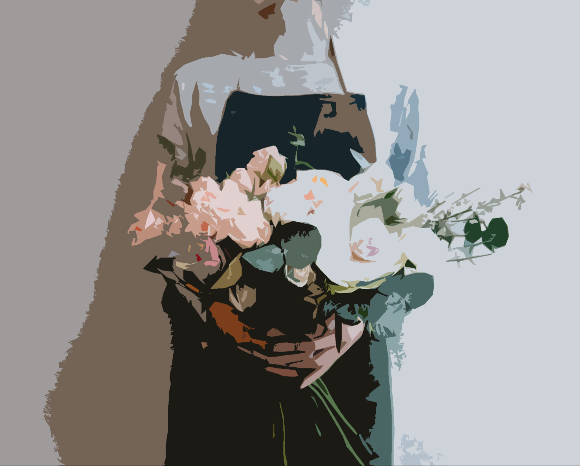 a woman with a flower bouquet